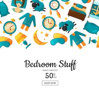 Background with cartoon sleep elements and place for text illustration