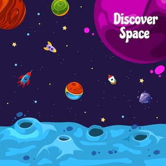 Background with cartoon space planets and ships