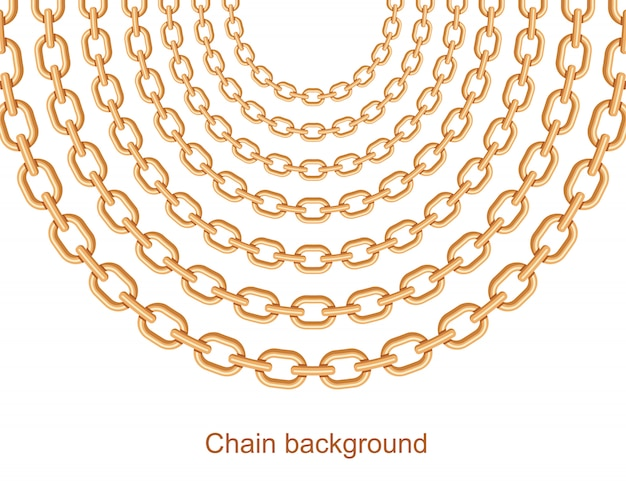 Background with chains golden metallic necklace