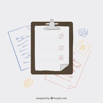 Sfondo con lista di controllo e documenti