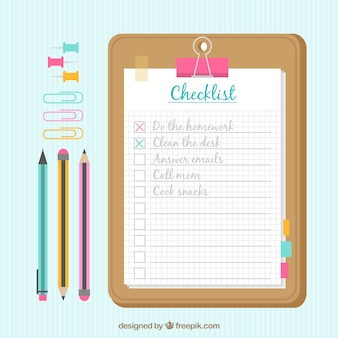 Background with checklist and office supplies