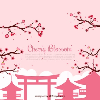 Background with cherry blossom in flat design