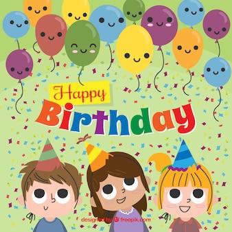 誕生日を祝う子供たちとの背景