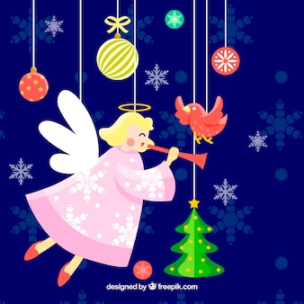 Background with a christmas angel and christmas decorations