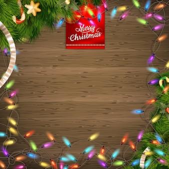 クリスマスの鐘、弓、雪の結晶の背景。