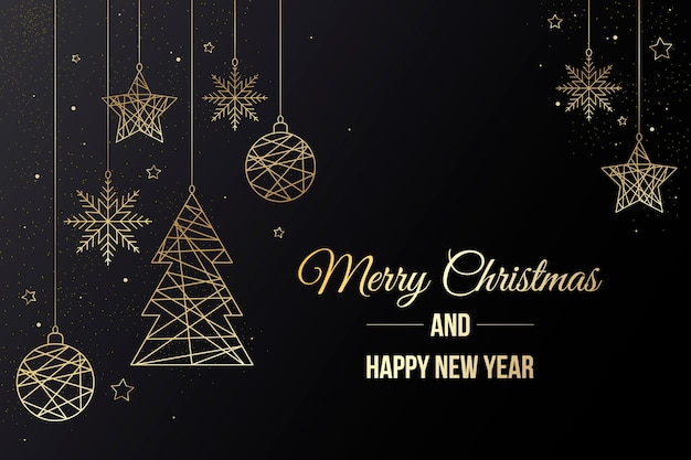 Background with christmas decorations and lettering