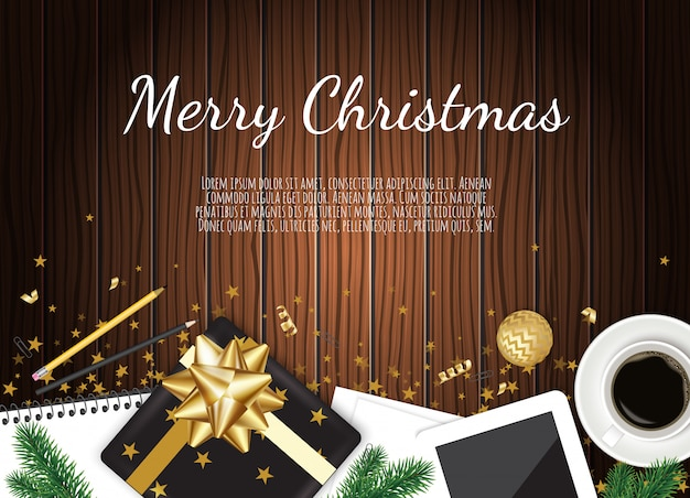 Background with christmas gift box, coffee mug on brown wooden table,