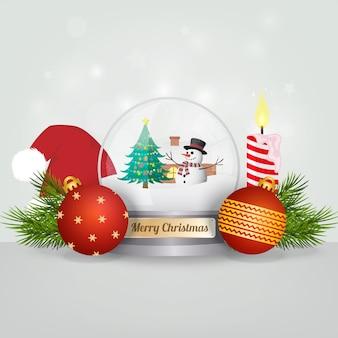 クリスマススノーグローブとボールの背景