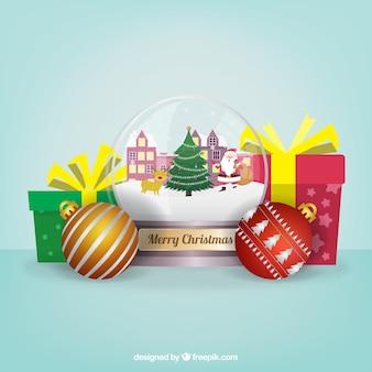 クリスマススノーグローブと贈り物の背景
