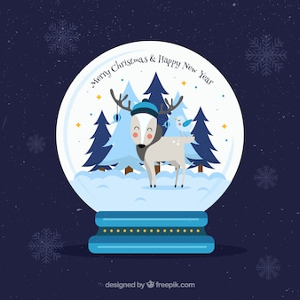 Background with christmas snowglobe and nice reindeer
