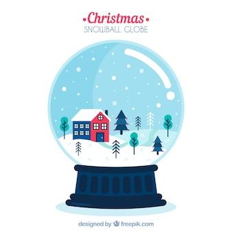 クリスマススノーグローブと背景