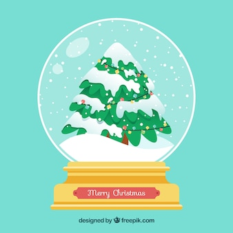 Background with christmas snowglobe