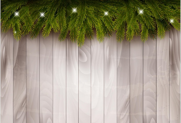 木製の壁の前にクリスマスツリーの枝とつまらないものの背景。ベクター。