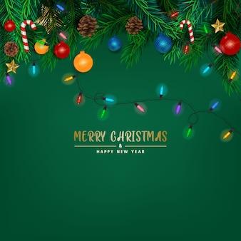 緑の背景、カード、バナーにクリスマスツリーの枝と背景
