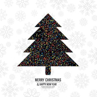 Background with a christmas tree with confetti
