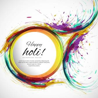 Background with circular shapes and watercolors for holi