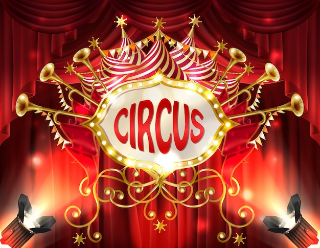 Background with circus signboard illuminated with spotlights and red curtains, golden trumpet