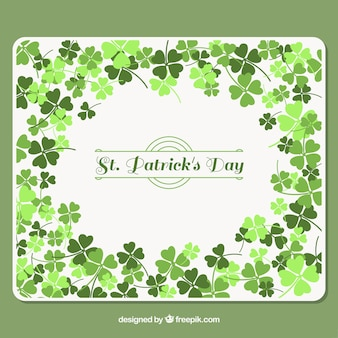 Background with clovers in green tones for st patrick's day
