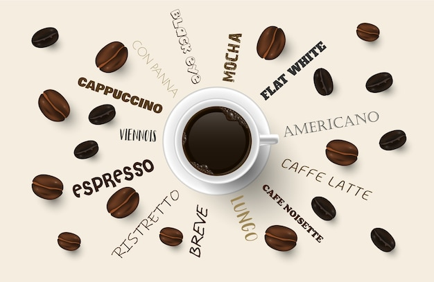 Background with coffee beans.