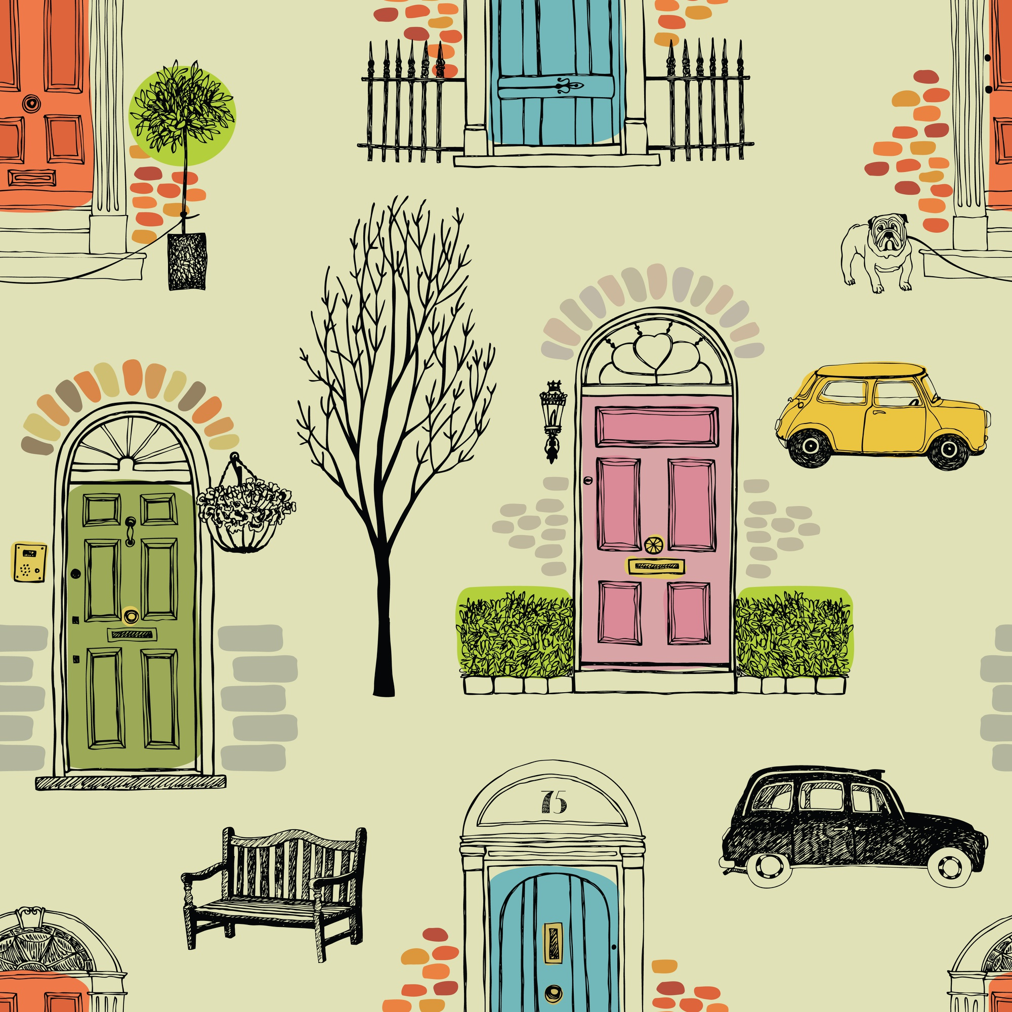 Background with colored doors