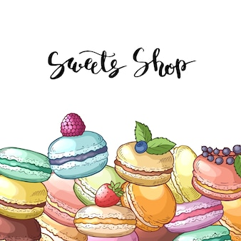 Background with colored hand drawn macaroons andlettering. illustration of sweet food dessert, bakery macaroon sketch