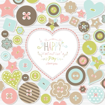 Background with colorful buttons of different shapes and text happy valentine's day