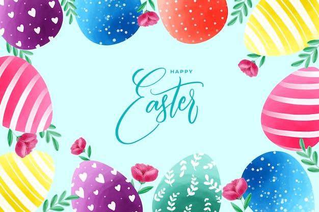 다채로운 부활절 달걀과 배경