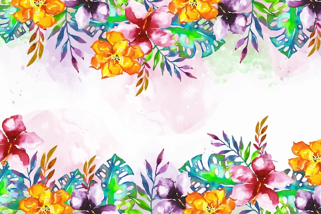 Background with colorful exotic flowers