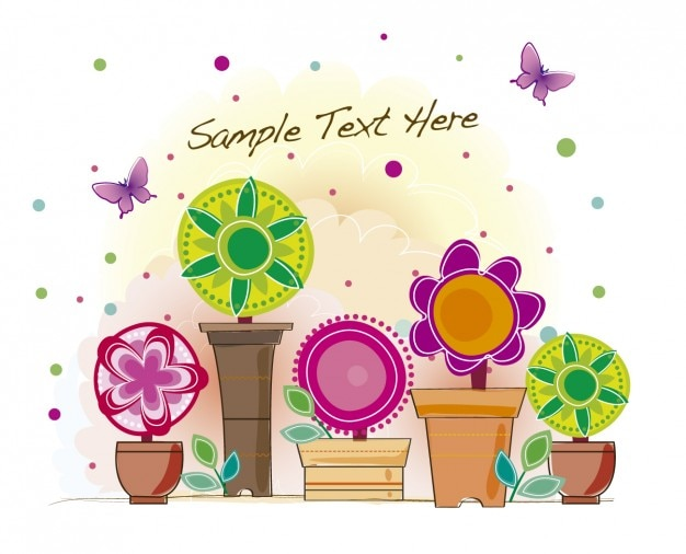 Background with colorful flowers in pots