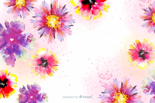 Background with colorful painted flowers