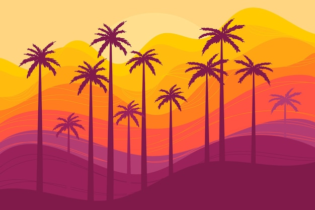 Background with colorful palm silhouettes