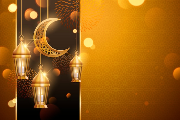 Background  with copy space and golden lanterns, crescent elements