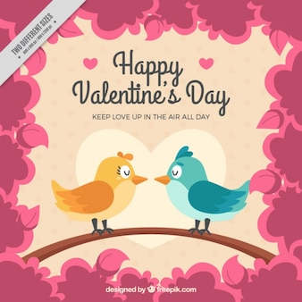 Background with couple of birds in vintage style Free Vector