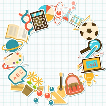 Background with course and school elements,