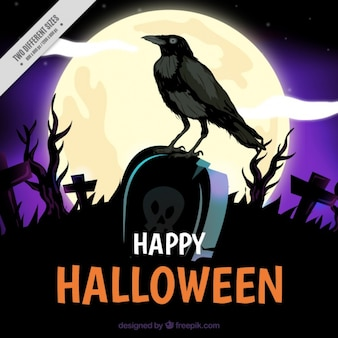 Background with a crow on a tomb at halloween night