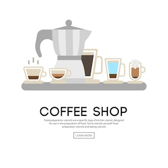 Background with cup of coffee icons