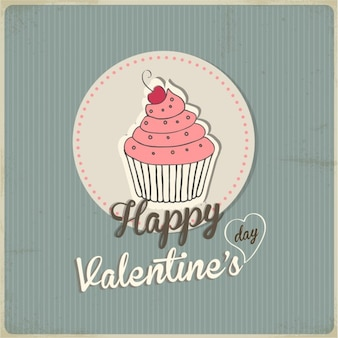 Background with a cupcake for valentine