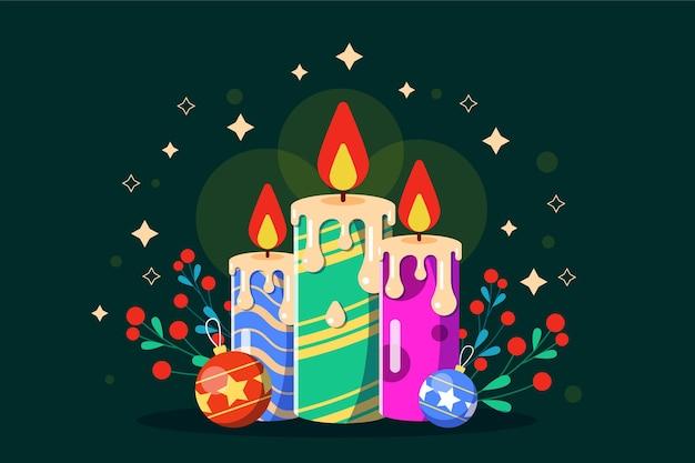 귀여운 촛불과 크리스마스 미 슬 토와 배경