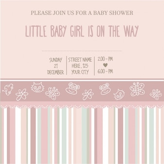Baby shower ragazza carta di illustrazione vettoriale