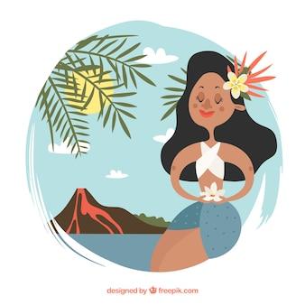 Sfondo con cute hawaiano in un paesaggio con il vulcano