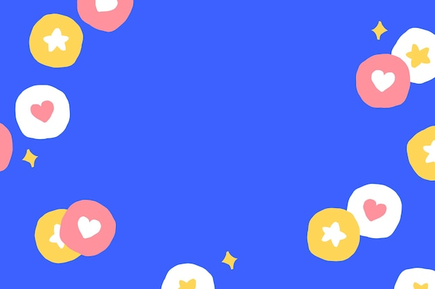 Background  with cute social media icons on blue