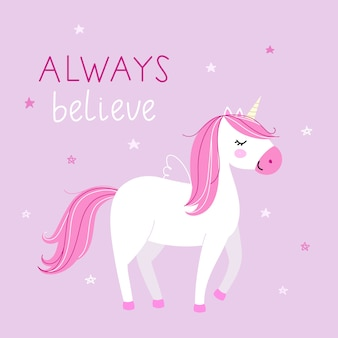 Background with cute unicorn in pastel colors on pink background.