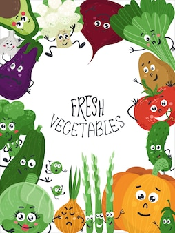 Background with cute vegetables