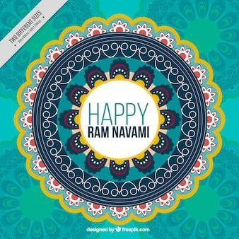 Background with decorative mandala for ram navami celebration