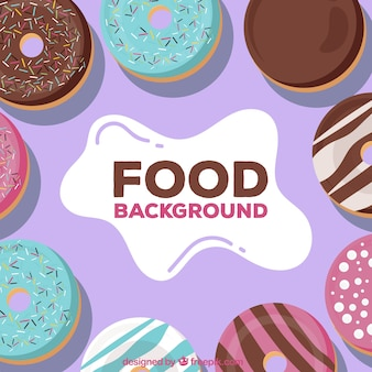 Background with delicious donuts