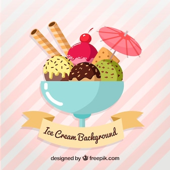 Background with a delicious glass of ice cream