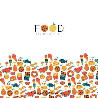 Фон с десертами и здоровой пищей