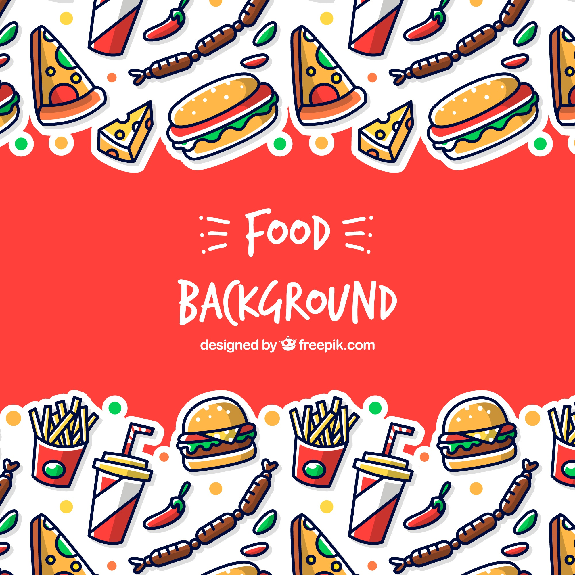 Background with different fast food