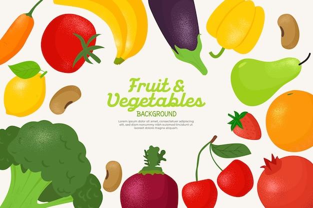 Sfondo con diversi tipi di frutta e verdura