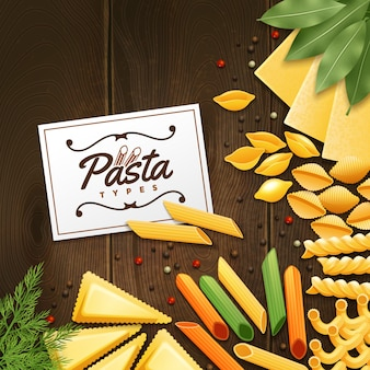Background with different kinds of pasta with green and spices on wooden table vector illustration